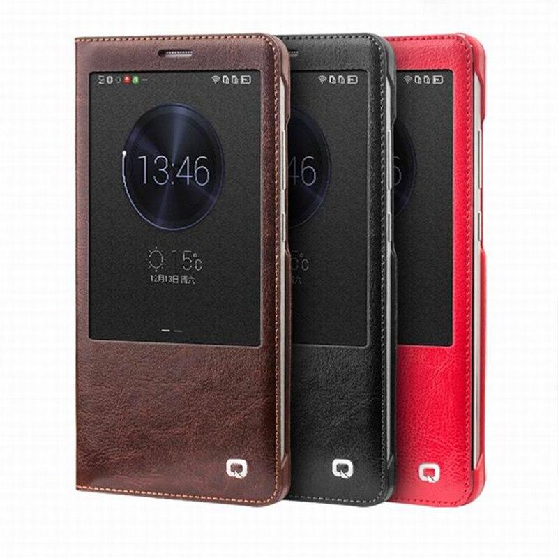 Цена за Qialino реального натуральная кожа для Huawei Ascend Mate 7 Чехол Smart Вид из окна для Huawei Mate 7 откидная крышка проснуться & Sleep