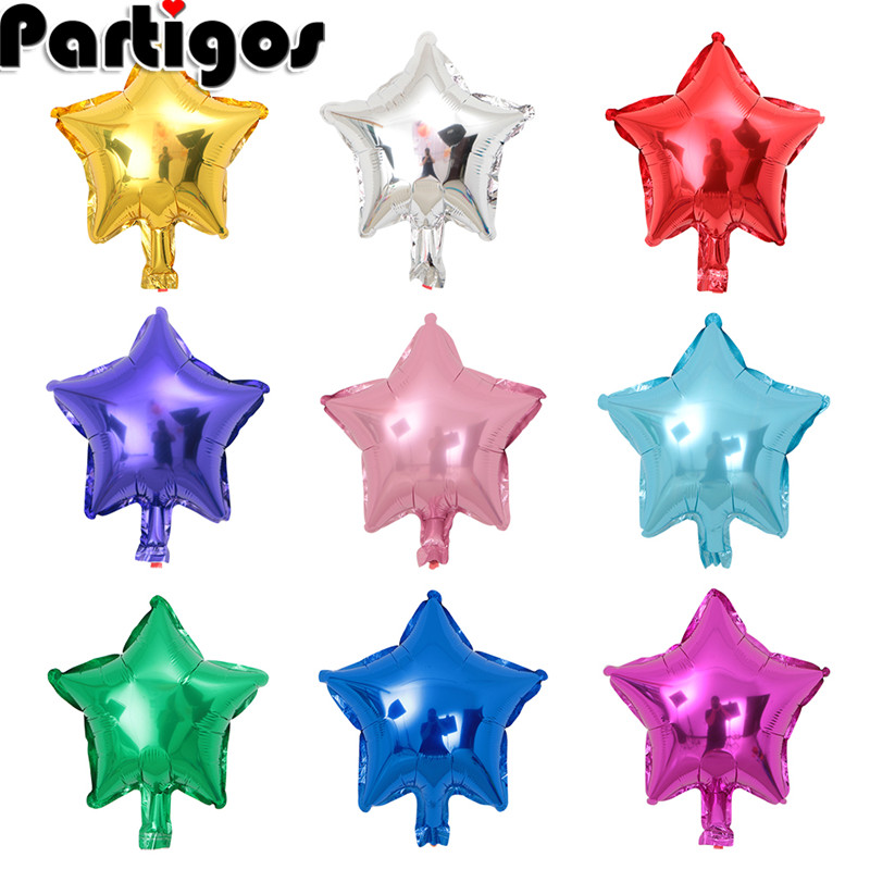 Mixed 10pcs 10inch Five-pointed Star Heart Shaped Foil Balloon Wedding Birthday Decor Pure Color Metallic Inflatable Globos Toys