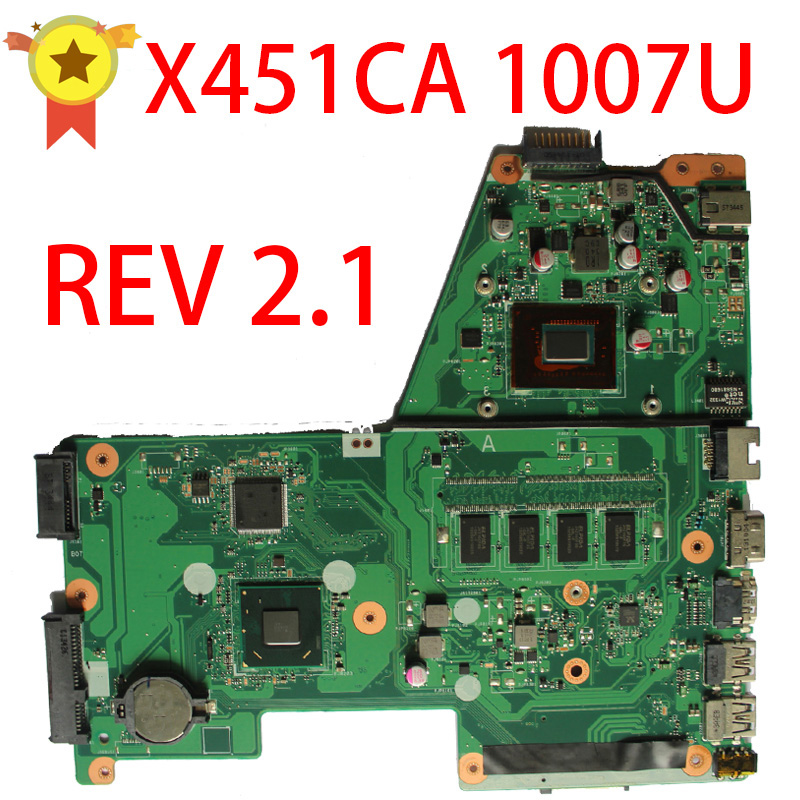 For Asus X451C  X451CA F451 F451C X451CA rev2.0 1007 CPU 2GB Integration DDR3 Laptop Motherboard System Mainboad Logic Board for asus x550cc r510cc ddr3 fit x550vb laptop motherboard gt720m 2gb i3 3217u cpu hm76 x550cc rev 2 0 pn 60nb00wa 100