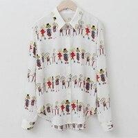 2017 New Spring Summer Wo Shirts Print Cute Little Cartoon Style Blouse Shirt Ivory Black 821