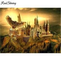 REALSHINING полная квадратная Алмазная вышивка Гарри Поттер замок 5D DIY Алмазная картина вышивка крестиком, мозаичный узор подарки FS1498