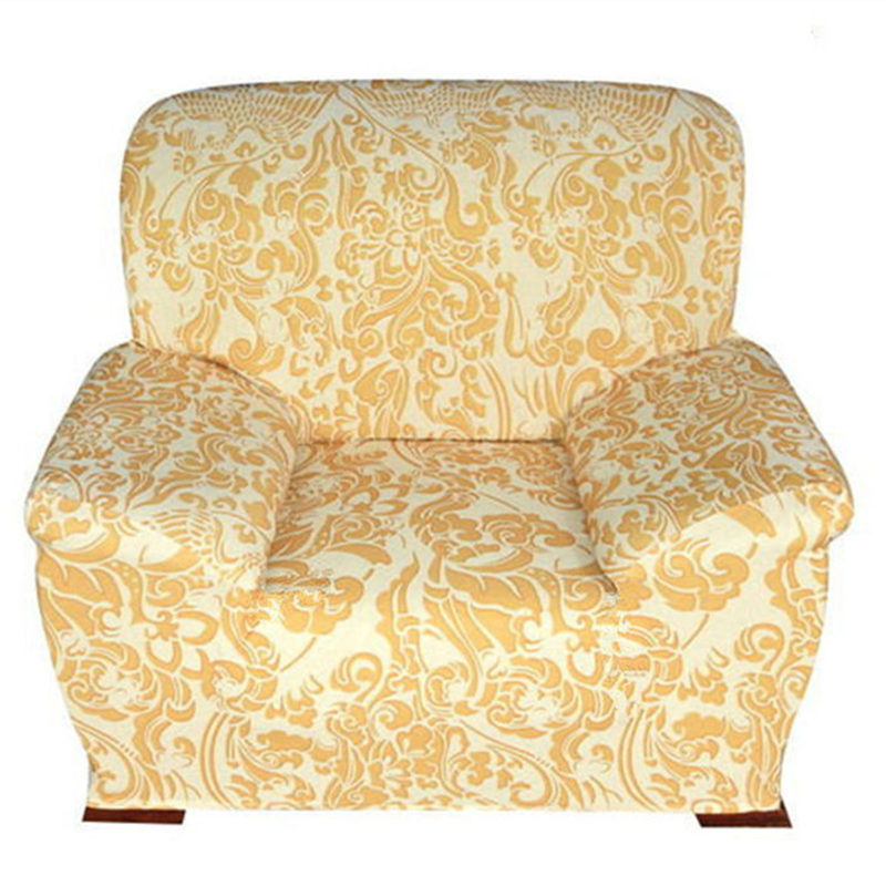 Fashion elastic sofa cover gold phoenix print sectional sofa