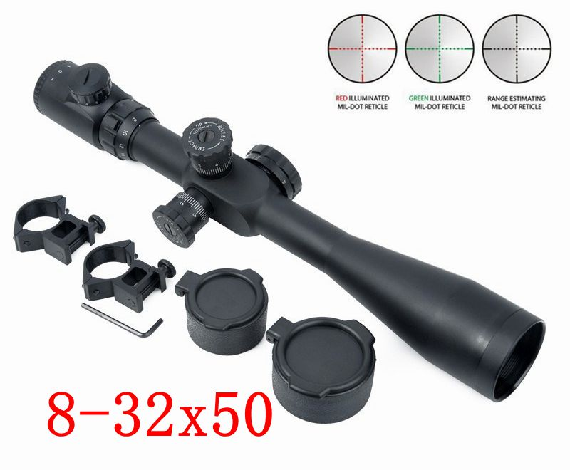 Telescopic Optic Sight 8-32x50 SF Red Green Reticle Dot Hunting Shooting Rifle Scope With 20mm Rail Mount for airsoft air guns 4x 30mm red green mil dot reticle rifle scope with gun mount black 3 x ag13 1 x cr2032