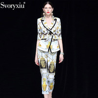 Svoryxiu Fashion Designer Autumn Blazers Two Piece Set Women's 3/4 Sleeve Slim Coat + Ankle Length Pants Printed Career Set