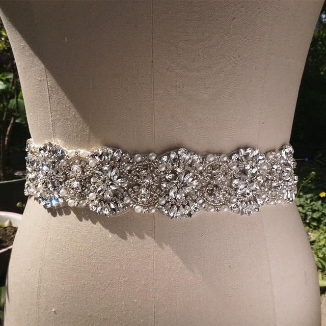 Real Photo Hand Sew Luxury Crystal Rhinestone Wedding Belt Sash
