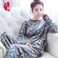 Coral Fleece Pyjamas Women Winter Flannel Pajamas Set 2018 Warm Pyjama Female Thick Pijamas Big Size XL XXL