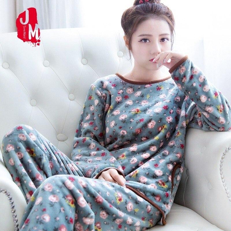 Coral Fleece Pyjamas Women Winter Flannel Women   Pajamas     Set   2018 Warm Pyjama Female Winter Thick Pijamas Women Big Size XL XXL