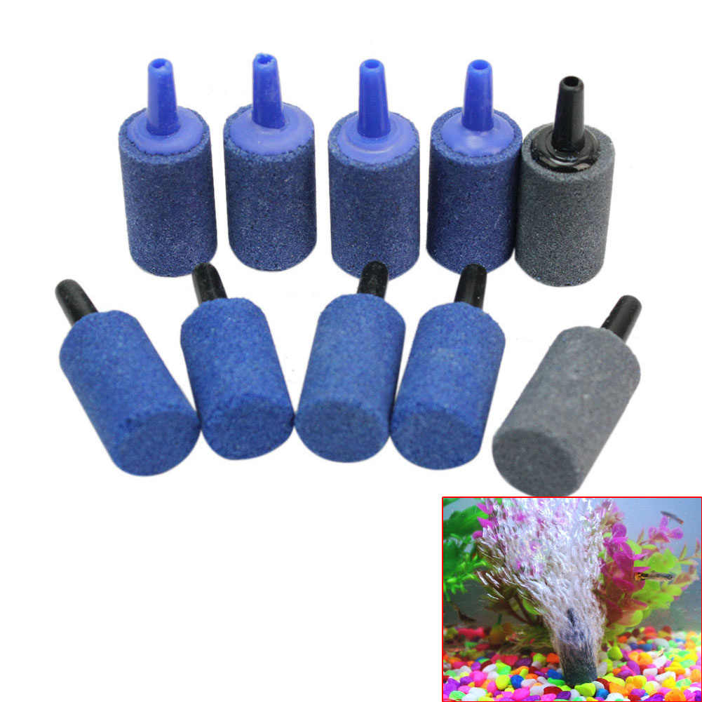 10pcs/lot Aquarium Cylinder Shape Air Stone Mineral Bubbles Release Fish Tank Punp Airstone Aeration Aerator Accessories