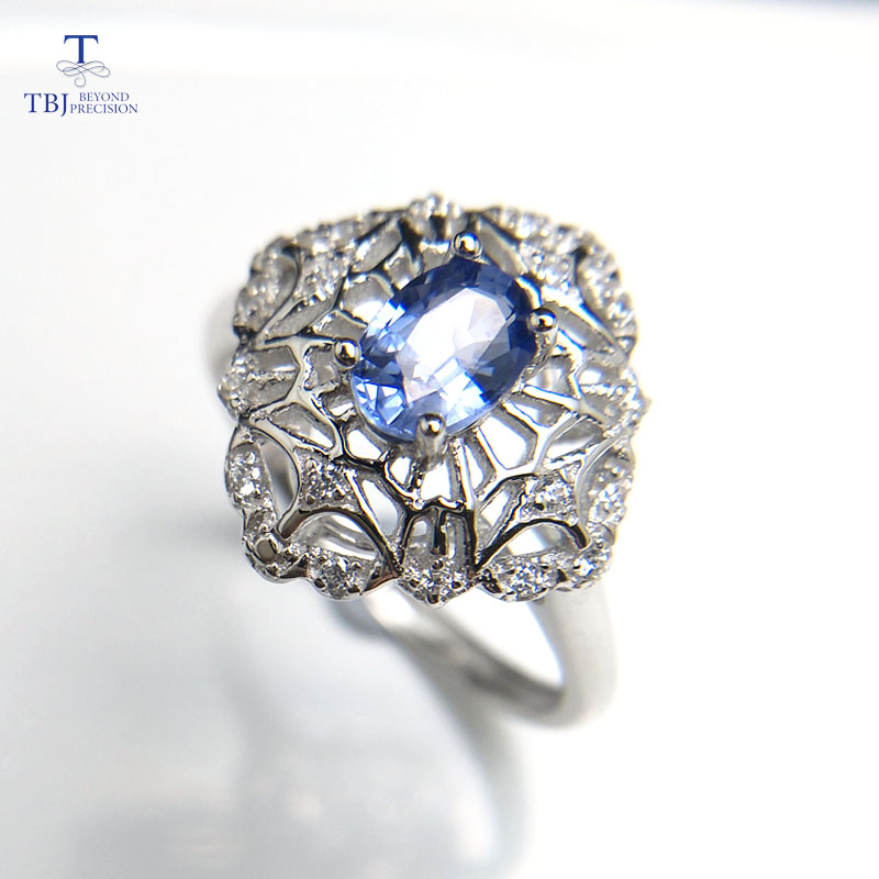 TBJ,Natural light blue sapphire oval 4*6mm 0.5ct gemstone elegant Ring in 925 sterling silver fine jewelry for lady with box tbj delicate small ring with natural good color blue tanzanite gemstone lady ring in 925 sterling silver fine jewelry for women