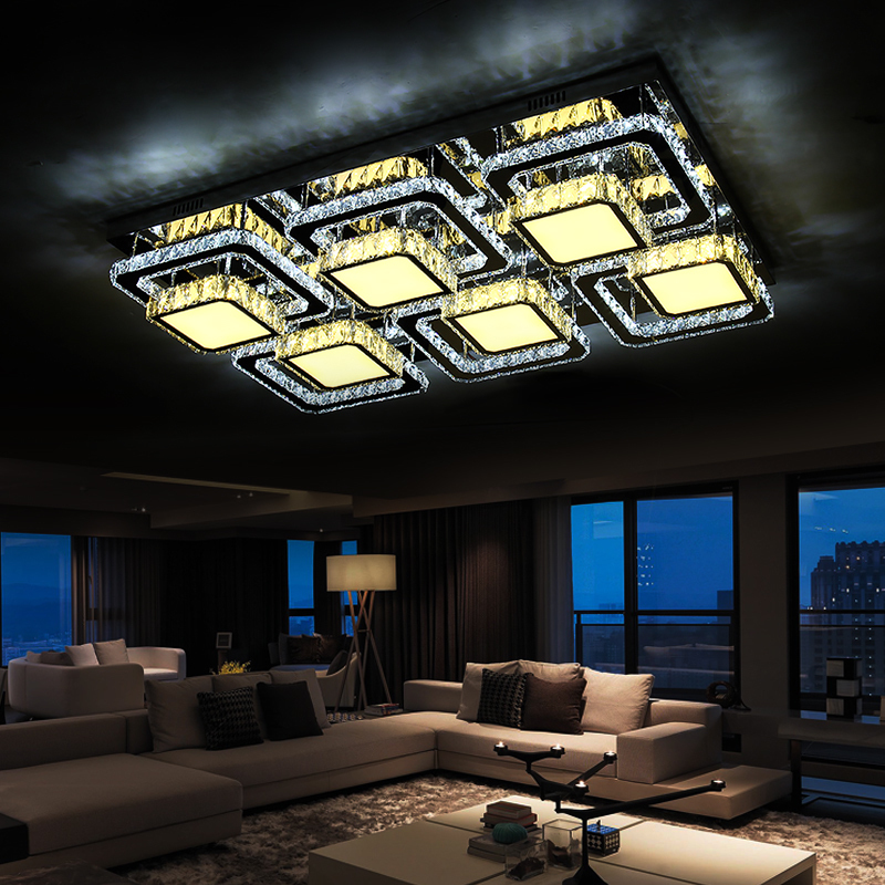 Led Ceiling Light For Living Room Surface Modern Lustres Crystal Light Luminarias Fixture Lamps For Home Lighting 110V 220V modern crystal bed room wall lamp led sconces 110v 220v living room light home deocrationg lighting fixture free shipping