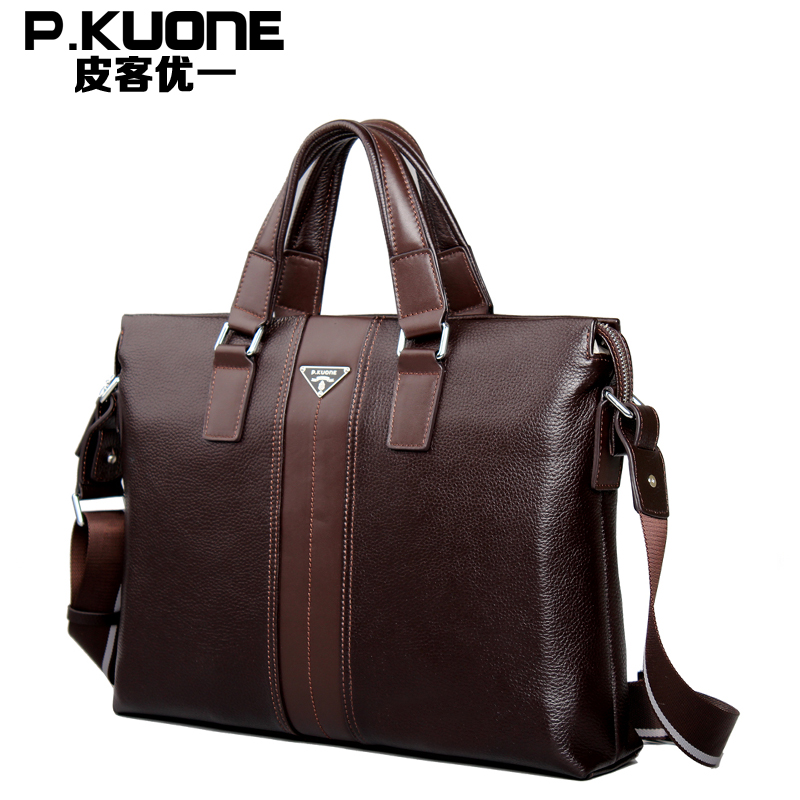 Promotion High Quality 100% Real Genuine Leather Men Messenger Bags Briefcase Portfolio Laptop Bag #M630181 aiweiyi womens high quality genuine leather real fur 100