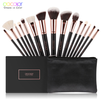 Docolor 15pcs Brushes For Makeup Brushes Set Professional With Natural Hair Make Up Brushes With Bag