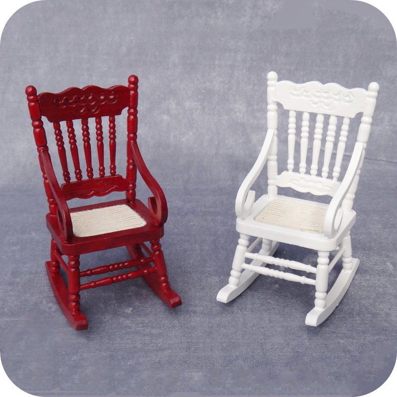 Prime 1 12 Miniature White Wooden Rocking Chair Model Doll House Gamerscity Chair Design For Home Gamerscityorg