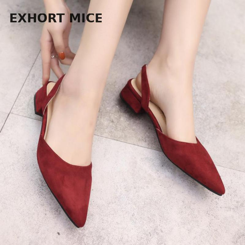 2019  Women Pumps Slip On Office Lady Thick Heel Solid Pointed Toe Princess Style Slingback Fashion Nude Shoe Sandals