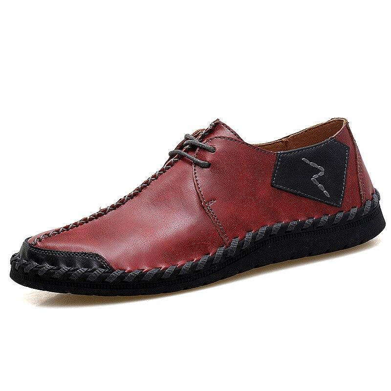 Costura Mocasines Black De Calzado Cómodo Hombres 47 Lujo Diseño Más Cuero Casual Up Tamaño Lace brown red 38 Backcamel Moda Zapatos PgqSxx8