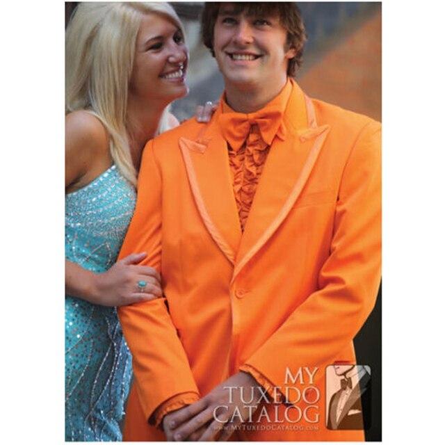 2016 Оранжевый Пользовательские Жених Смокинги Best Man Пик Нагрудные Groomsmen Свадебные Костюмы Куртка Брюки