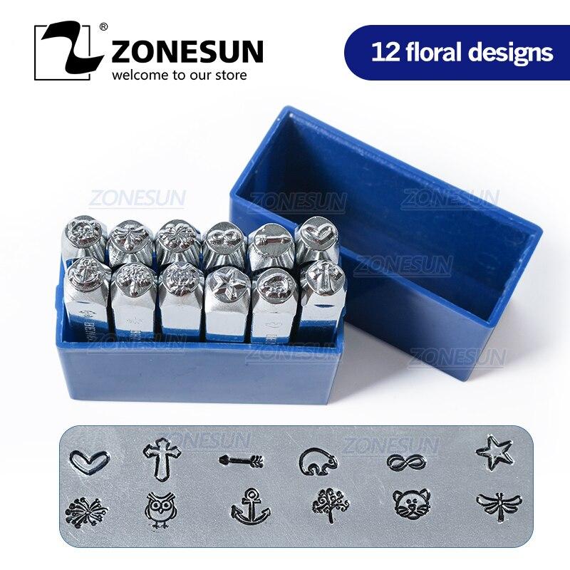 ZONESUN 4 pièces bijoux estampage métal Alphabet LOGO en acier timbres moule marquage outil poinçon Die pour bague en or Bracelet collier