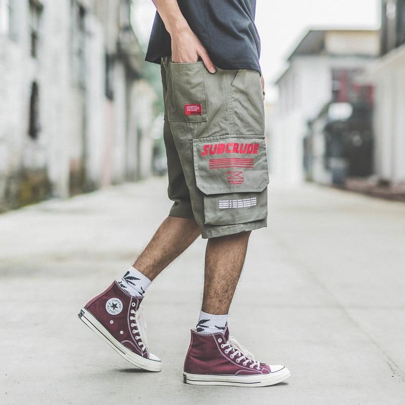 Japanese Harajuku Big Pockets Mens Cargo Shorts for Summer Urban Boys Streetwear Drawstring Hip Hop Short Pants Plus Size M-XXL 3