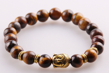 MOODPC Wholesale Jewelry 8m Tiger Eye Semi Precious Stone Beads Antique Gold  Buddha Bracelets For Men