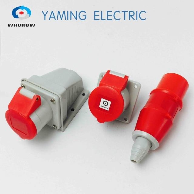 06a06b4c48 3 pin plug dan socket 16Amp 2 P + E splash bukti kabel dilindungi konektor  industri