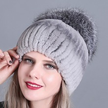 Winter fur hat for women real rex rabbit fur hat with fox fur pom poms fur knitted beanies 2018 new fashion good quality caps