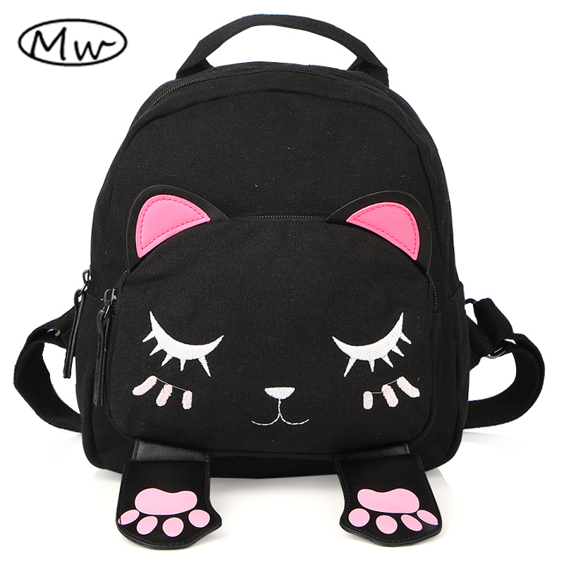 Moon Wood Newest Design Cartoon Animal Children Backpack Cute Women Mini Cat Embroidery Backpack School Bags For Girls Rucksack moon flac jeans