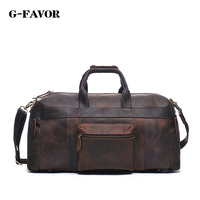 Vintage Crazy Horse Genuine Leather Travel bag men duffle bag luggage travel bag Leather Large Weekend Bag tote Big