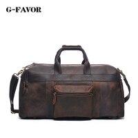 Vintage Crazy Horse Genuine Leather Travel bag men duffle bag luggage travel bag Leather Large Weekend Bag tote Big