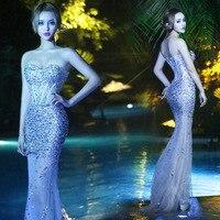 Sexy bra transparent dress diamond fishtail skirt bar singer model DJ club stage performance costumes