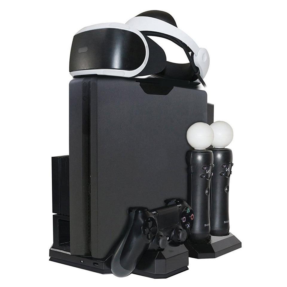 Station de support verticale Multi de charge + refroidisseur de ventilateur de refroidissement + support de support de lunettes PSVR pour casque PlayStation VR PS4 Pro Slim