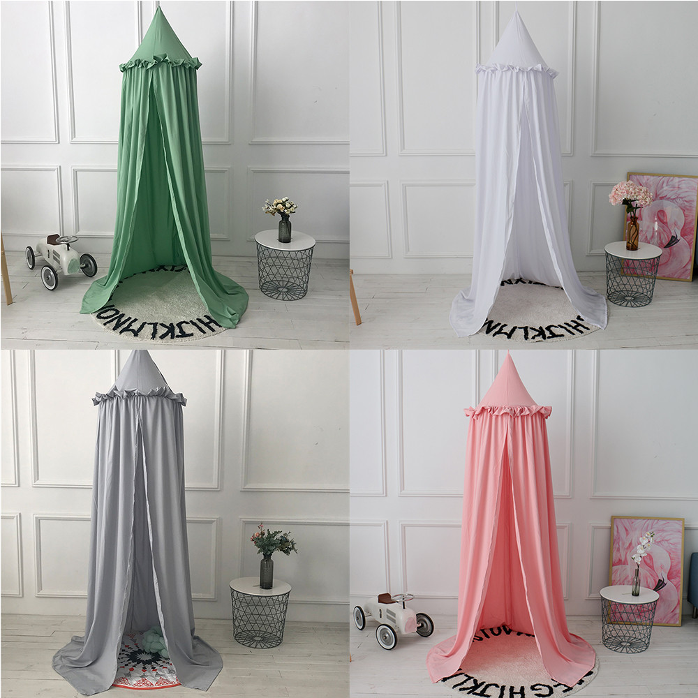 Mother & Kids Hanging Kid Baby Bedding Round Dome Bed Decoration Canopy Bedcover Mosquito Net Curtain Chiffon Three-open Tassel Bed Romantic Crib Netting