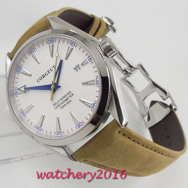 41mm Corgeut White Dial Stainless steel Case Sapphire Glass Blue Hand Miyota Automatic Movement mens Watch