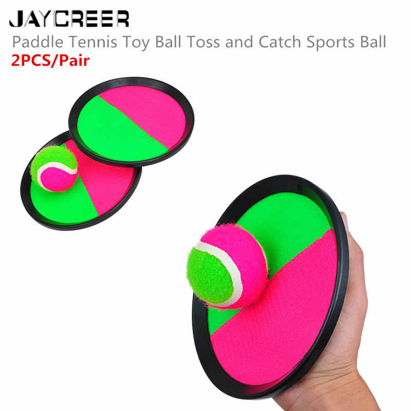 JayCreer Catch Ball Set - Self Stick Toss And Catch Sports Family Game With 2 Paddles And Velcro Ball For Ages 3 And Up