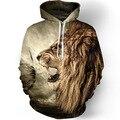 Мода лев с капюшоном рубашки мужчины печатные 3d толстовки Случайные графических балахон смешно Пота рубашка галстук-краситель Футболка топы