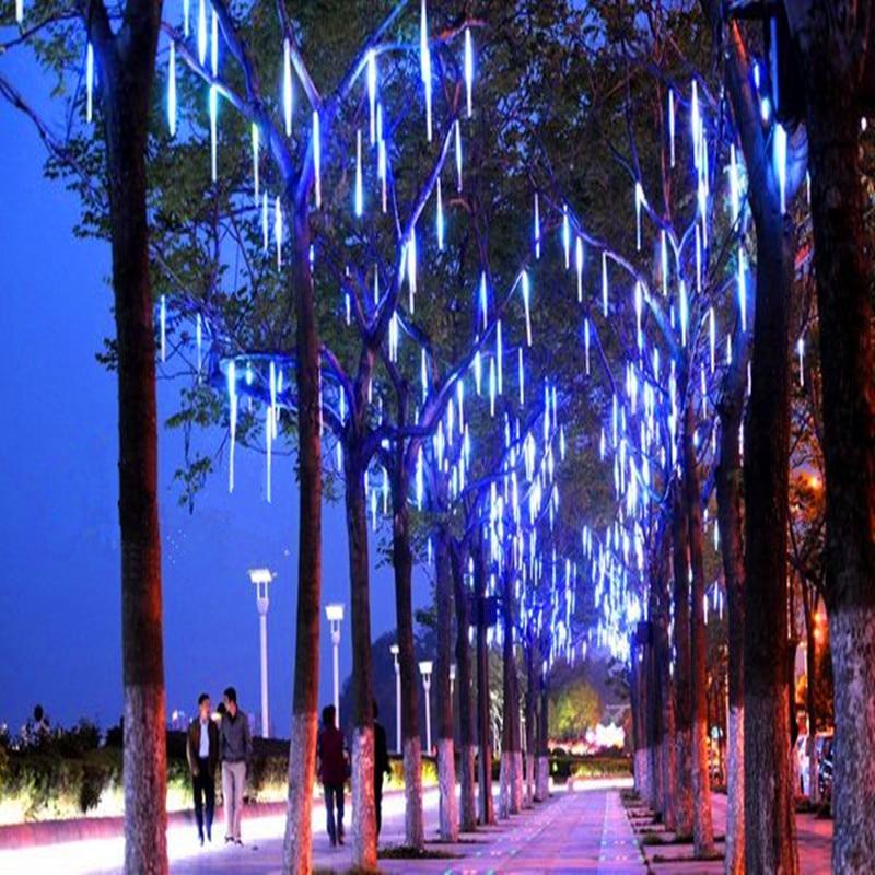 Waterproof Meteor Shower Rain Tubes 30/50CM Led Light Lamp 110V 220V 8Tubes Raindrop Outdoor Light Christmas Light Wedding Deco