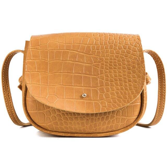 92f56783c30b Crocodile PU Women s Shoulder Bags Simple Round Designer Casual Female  Saddle Small Messenger Bag 2018 New Fashion Crossbody Bag