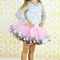 Hot Girl Tulle Skirt Ribbon Trimmed Tutu Skirts Fit For 2-8years ribbon sewn on bottom Pink Girl Dance Party Skirts For Girl