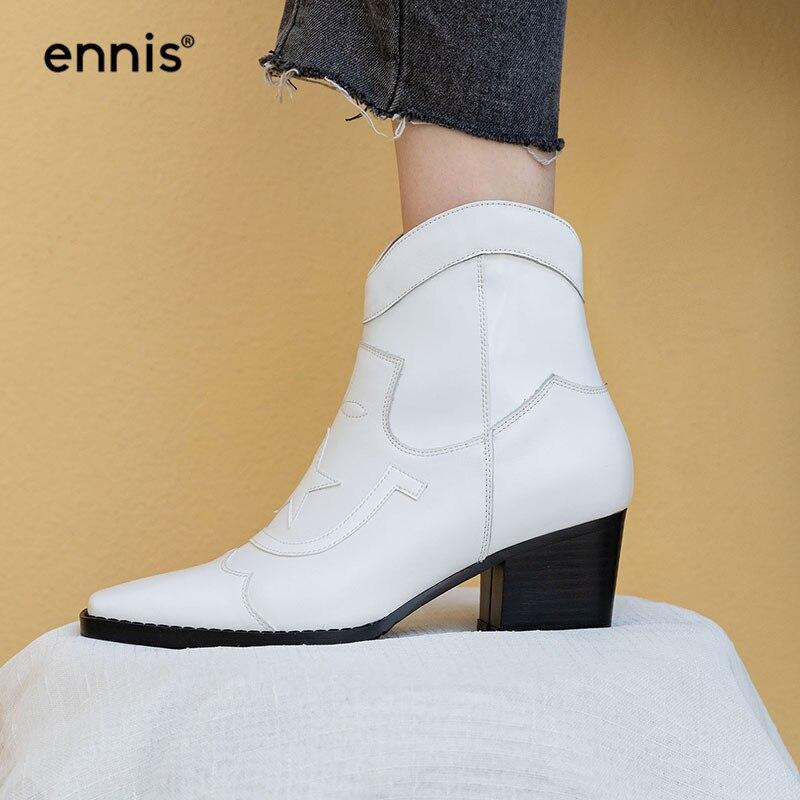 エニ 2019 新秋の女性のブーツ足首の冬の靴本革分厚い白ブーツ女性スターブーツファッション黒 A9119  グループ上の 靴 からの アンクルブーツ の中 1