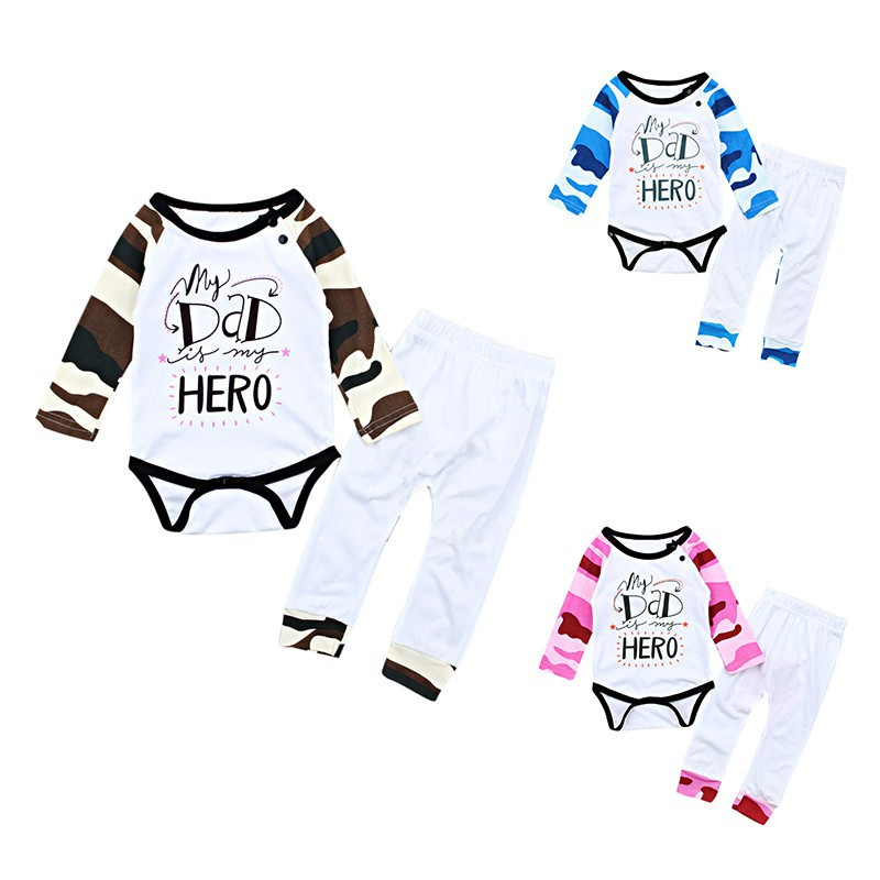 2018 Spring Autumn Winter Baby Infant Boy Girl Suit Cute Camouflage Pink/Blue Letter Print Long Sleeve Romper + Long Pants j2