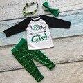 Nueva llegada niñas St Patrick ropa niños chica suerte equipos bebés flecha lentejuelas pantalones de vestir con accesorios