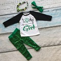 new arrival girls St Patrick clothes children luck girl outfits baby girls arrow sequins pants clothing with accessories