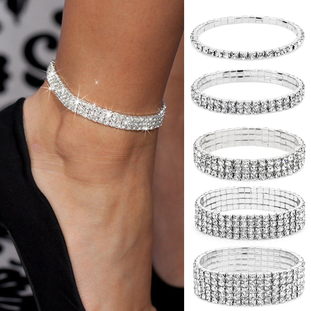 Silver Stretchy 1/2/3/4/5 Rows Bracelet Anklet Ankle Chain Diamante RhinestonesFoot JewelryCrystal Bracelet