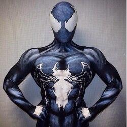 Venom Cosplay disfraz hombre araña Zentai traje piel apretada trajes mono de LICRA Lycra Body completo Halloween