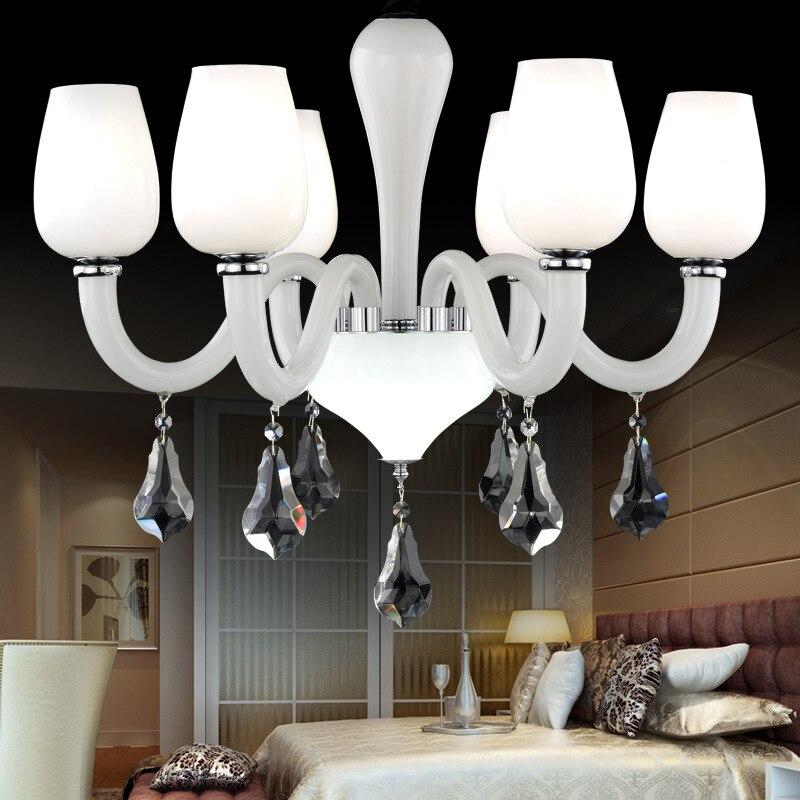 Kristallen kroonluchter lamp woonkamer lamp Europese sneeuw witte kroonluchter moderne kristallen plafondlamp