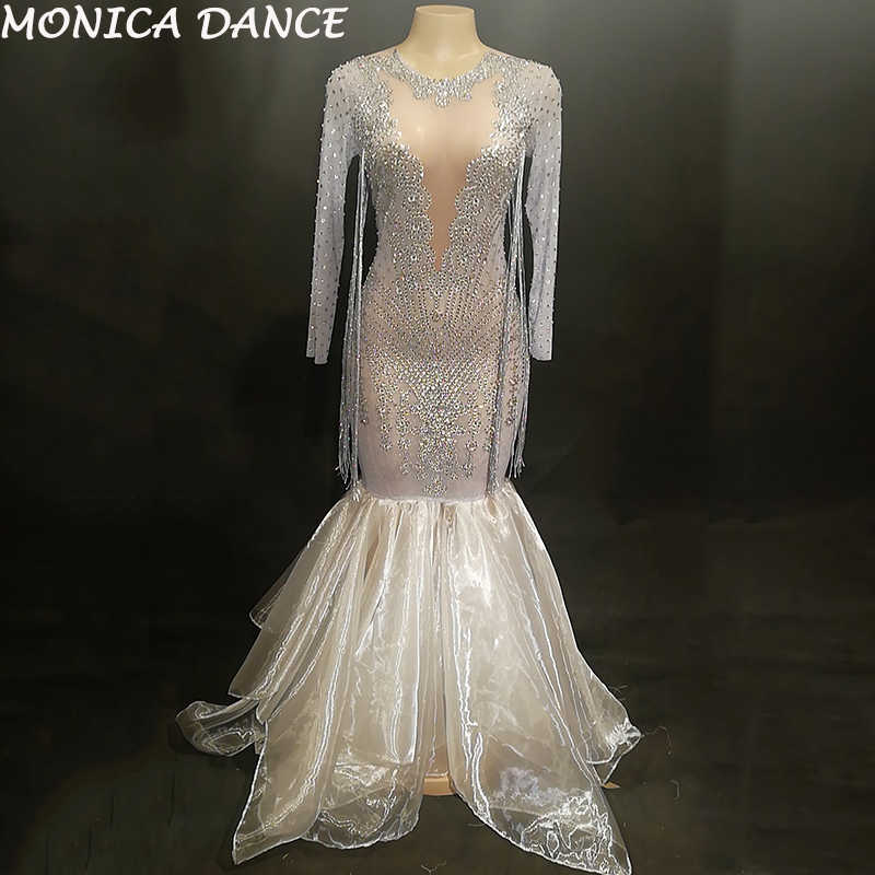 96cd5faad3 Detail Feedback Questions about Women Sexy Stage Net Yarn Long Dress ...