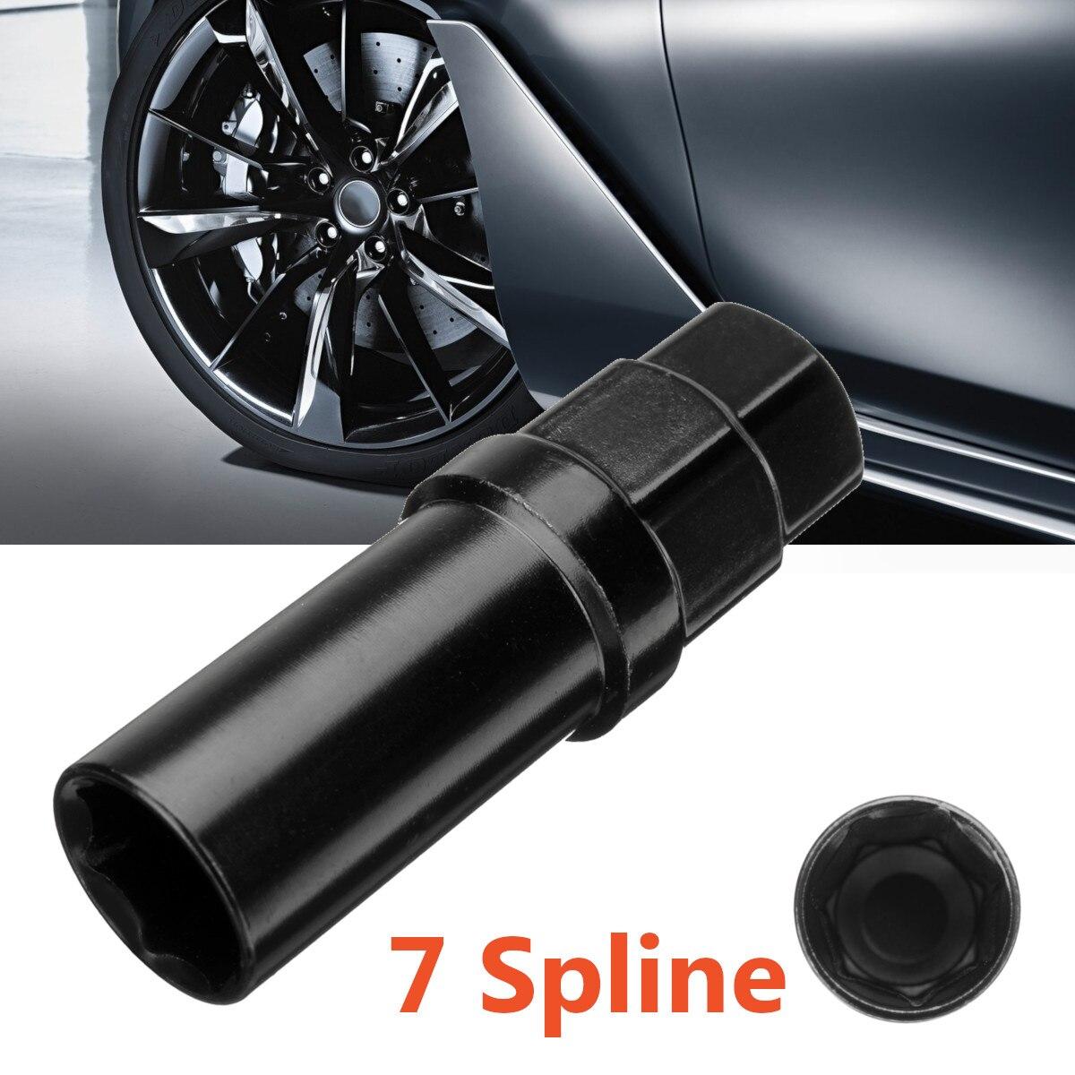Black 7 Sided Spline Tuner Lug Nut Locking Socket Key Removal Steel Tool