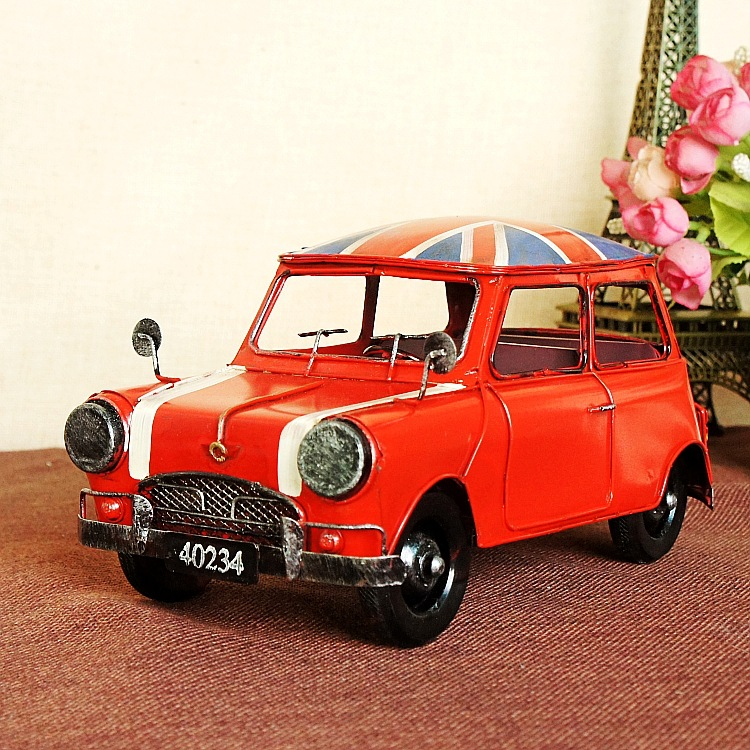 ФОТО J76 Iron Vintage Car Model Ornaments Home Table Decoration