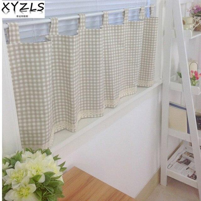Xyzls Baru Kotak Katun Linen Tirai Dapur Panel Cafe Pendek Pintu