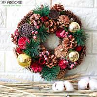 Natal Rústico Porta Grinalda Do Natal Ornamento Do Feriado de Natal Grinaldas Pinhas Naturais Inverno Ano Novo Casa Acessórios de Decoração