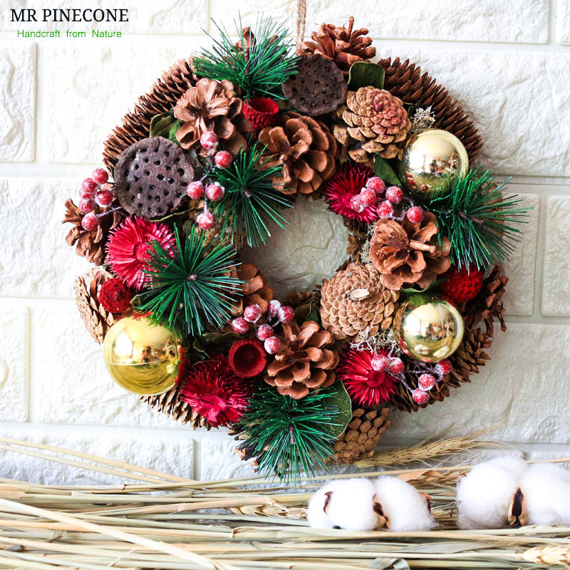 Xmas Rustic Door Wreath Christmas Natural Pinecones Ornament Holiday Natal Wreaths Winter New Year Home Decoration Accessories